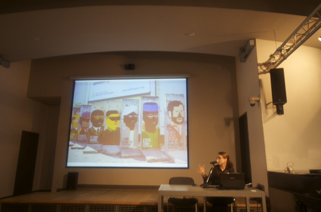 Alexis Zimberg gives a lecture on Post-Soviet Graffiti at NCCA. Photograph: Rebecca Johnston. December 2013.